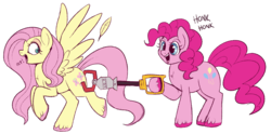 Size: 1200x595 | Tagged: artist:lulubell, butt grab, butt touch, colored hooves, cute, duo, earth pony, eep, feather, female, fluttershy, grabbing, grope, honk honk, hoof hold, looking back, mare, mechanical claw, molestation, open mouth, pegasus, personal space invasion, pinkie pie, pony, raised hoof, raised leg, safe, simple background, smiling, spread wings, surprised, toy, transparent background, unshorn fetlocks, wide eyes, wings