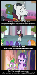 Size: 1000x2024 | Tagged: a matter of principals, angry, background pony, banner, chancellor neighsay, comic, edit, edited screencap, eyes closed, forgiveness, friendship, frown, plant, pony, potted plant, sad, safe, school of friendship, school raze, screencap, screencap comic, shocked, smiling, smirk, spike, spoiler:s08e25, starlight glimmer, student, text, unicorn