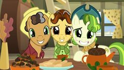 Size: 1280x720 | Tagged: safe, screencap, butternut, oak nut, pistachio, earth pony, pony, best gift ever, acorn, acorn family, cute, female, hat, ladder, looking at you, male, mare, pistachiaww, smiling, stallion, sweet acorn orchard, teenager, trio