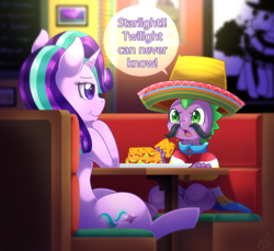 Size: 1500x1371 | Tagged: safe, artist:vavacung, cheese sandwich, spike, starlight glimmer, dragon, pony, unicorn, baby, baby dragon, betrayal, chair, clothes, cute, cutie mark, dialogue, disguise, duo, facial hair, female, food, glimmerbetes, horn, male, mare, moustache, picture, poncho, quesadilla, restaurant, signature, sombrero, speech bubble, spikabetes, table, text, they're just so cheesy
