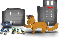 Size: 1500x1000 | Tagged: aquila, artist:horsesplease, bolter, capper dapperpaws, cat, catified, figurine, gaming miniature, imperium, leman russ, miniature, my little pony: the movie, ork, paint tool sai, safe, space marine, species swap, tactical squad, tank (vehicle), warhammer 40k, warhammer (game), weapon