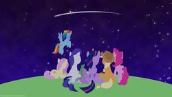 Size: 3840x2160 | Tagged: safe, artist:kitkatyj, applejack, fluttershy, pinkie pie, rainbow dash, rarity, spike, twilight sparkle, alicorn, 4k, facing away, lineless, mane seven, mane six, night, shooting star, sitting, sky, stargazing, starry night, starry sky, stars, twilight sparkle (alicorn), wallpaper, youtube link