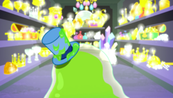 Size: 1440x810 | Tagged: crown, crystal, goblet, gold, hat, jewelry, make new friends but keep discord, regalia, safe, screencap, slime, smooze, solo, sparkles, this will not end well, top hat, treasure, treasure chest, treasure room
