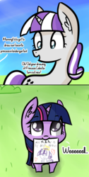 Size: 1233x2439 | Tagged: safe, artist:artiks, twilight sparkle, twilight velvet, pony, unicorn, artiks is trying to murder us, bush, c:, crown, cute, daaaaaaaaaaaw, dialogue, drawing, female, filly, filly twilight sparkle, heart, hnnng, jewelry, looking at you, looking up, mare, mother and daughter, mouth hold, nom, open mouth, regalia, sky, smiling, text, twiabetes, unicorn twilight, weapons-grade cute, younger