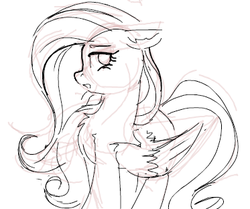 Size: 373x312 | Tagged: safe, artist:yoditax, fluttershy, pegasus, pony, cute, female, grayscale, lineart, mare, monochrome, open mouth, simple background, sketch, solo, white background
