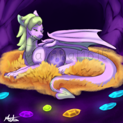 Size: 768x768 | Tagged: safe, artist:malinraf1615, oc, dragon, crying, dragoness, egg, eyes closed, female, gem, nest, obtrusive watermark, signature, solo, spike's egg, spike's mother, watermark, wing shelter