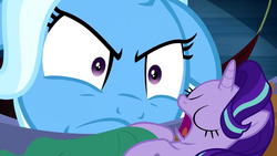 Size: 854x480   Tagged: safe, edit, edited screencap, screencap, starlight glimmer, trixie, pony, unicorn, road to friendship, floppy ears, hammock, meme, size difference, sleeping, snorelight glimmer, snoring, trixie is not amused, unamused