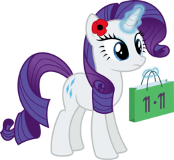 Size: 6978x6400 | Tagged: safe, artist:parclytaxel, rarity, pony, unicorn, .svg available, absurd resolution, coincidence, female, flower, flower in hair, levitation, looking down, magic, mare, poppy, pun, remembrance day, shopping bag, shopping time, simple background, singles' day, solo, telekinesis, transparent background, vector, visual pun