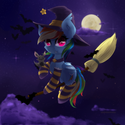 Size: 1000x1000 | Tagged: artist:agletka, bat, bat ponified, bat pony, broom, clothes, cute, dashabetes, fangs, female, flying, flying broomstick, full moon, hat, mare, moon, night, pony, race swap, rainbowbat, rainbow dash, safe, smiling, socks, striped socks, witch hat