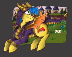 Size: 4509x3570 | Tagged: safe, artist:mangomilk, oc, oc:code sketch, pony, unicorn, clothes, commission, high res, hoodie, horns, spyro, spyro the dragon, ych result