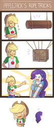 Size: 1000x2340 | Tagged: applejack, artist:tcn1205, bondage, box, cute, equestria girls, equestria girls series, female, geode of shielding, jackabetes, lesbian, log, magical geodes, raribetes, rarijack, rarity, rope, safe, shibari, shipping, slap mark, tied up