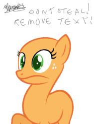 Size: 472x624 | Tagged: safe, derpibooru exclusive, applejack, earth pony, pony, over a barrel, base, faic, female, freckles, frown, mare, ms paint, raised hoof, simple background, solo, surprised, white background, wide eyes