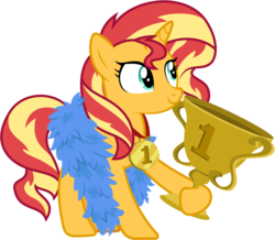 Size: 6867x6000 | Tagged: absurd res, .ai available, artist:pirill, best gift ever, best pony, feather boa, female, mare, medal, pony, safe, simple background, smiling, solo, sunset shimmer, transparent background, trophy, unicorn, vector