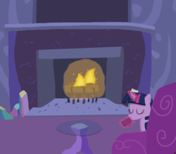 Size: 4000x3500   Tagged: safe, artist:devfield, twilight sparkle, pony, chocolate, couch, crystal, cup, female, fire, fireplace, food, glass table, glow, glowing horn, hot chocolate, levitation, log, magic, shading, solo, table, telekinesis, twilight's castle