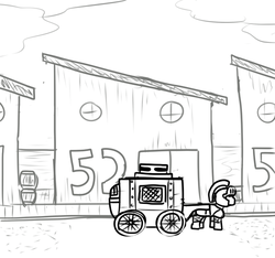 Size: 640x600 | Tagged: armor, artist:ficficponyfic, barrels, building, carriage, colt quest, cyoa, guard, helmet, monochrome, numbers, pony pulls the wagon, safe, sidewalk, solo, story included, street, warehouse, wheel