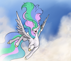 Size: 4414x3770 | Tagged: alicorn, artist:greyscaleart, cloud, cute, cutelestia, daaaaaaaaaaaw, ethereal mane, eyes closed, eyeshadow, female, floppy ears, flying, happy, high res, hoof polish, horn, long tail, majestic, makeup, mare, missing accessory, open mouth, pony, princess celestia, safe, sky, smiling, solo, sparkly mane, spread wings, wings