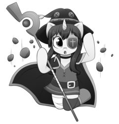 Size: 2708x2811 | Tagged: anime, artist:moozua, bandage, bandaged leg, belt, black and white, buck legacy, choker, cloak, clothes, colorless, eyepatch, female, floating rocks, grayscale, hat, jumping, konosuba, looking at you, mage, megumin, monochrome, oc, oc only, parody, pony, safe, simple background, solo, staff, transparent background, unicorn, witch hat