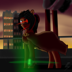 Size: 2000x2000 | Tagged: antagonist, artist:5oussn, building, cybernetic enhancement, earth pony, factory, fallout equestria, looking at you, male, oc, oc:red eye, pipbuck, safe, solo