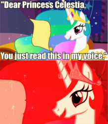 Size: 513x589 | Tagged: safe, edit, edited screencap, screencap, princess celestia, comic, image macro, impact font, implied twilight sparkle, letter, meme, red tint, screencap comic, text, this will end in tears and/or a journey to the moon, triggered, trollight sparkle