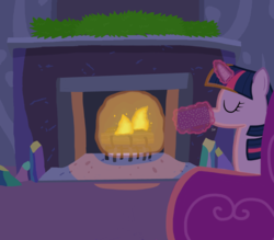 Size: 4000x3500   Tagged: safe, artist:devfield, twilight sparkle, pony, chocolate, couch, crystal, cup, drink, female, fire, fireplace, food, glow, glowing horn, hot chocolate, levitation, log, magic, redo, shading, solo, telekinesis, text, twilight's castle
