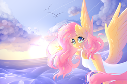 Size: 1800x1200 | Tagged: safe, artist:melloncollie-chan, fluttershy, pegasus, anthro, clothes, dress, female, horizon, looking at you, mare, ocean, pointing, reaching, sky, smiling, solo, spread wings, sun, three quarter view, white dress, wings