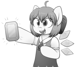 Size: 1964x1748 | Tagged: safe, fairy, fairy pony, original species, pony, buck legacy, ahoge, anime, black and white, bow, card art, cirno, colorless, crossover, crystal, female, grayscale, hair bow, ice, jewel, mare, monochrome, parody, ponified, simple background, solo, touhou, transparent background, wings