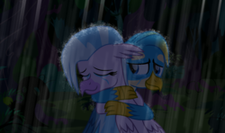 Size: 5915x3503 | Tagged: artist:ejlightning007arts, crying, everfree forest, fanfic in the description, female, gallstream, gallus, griffon, hippogriff, hug, male, rain, sad, safe, shipping, silverstream, story included, straight