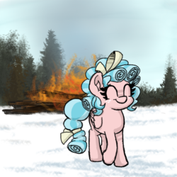 Size: 600x600 | Tagged: safe, artist:plunger, cozy glow, pegasus, pony, burning, cozybetes, cute, drawthread, female, filly, ponified animal photo, pure concentrated unfiltered evil of the utmost potency, pure unfiltered evil, smiling, snow, solo, some mares just want to watch the world burn