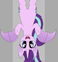 Size: 1153x1226   Tagged: safe, artist:noosa, starlight glimmer, alicorn, bat pony, bat pony alicorn, pony, alicornified, bat ponified, boo, cute, fangs, female, glimbat, glimmerbetes, looking at you, mare, open mouth, race swap, simple background, smiling, solo, starlicorn, underhoof, upside down, xk-class end-of-the-world scenario