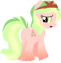 Size: 1024x1052 | Tagged: safe, artist:babyroxasman, oc, oc:peach rose, earth pony, pony, colored hooves, cutie mark, feathered fetlocks, female, hoof fluff, hooves, lineless, looking back, mare, open mouth, solo, squint, vector