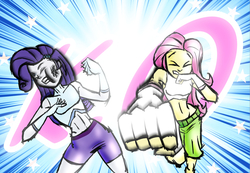 Size: 1300x900 | Tagged: safe, artist:rockzerox, fluttershy, rarity, human, equestria girls, badass, belly button, boxing trunks, bruised, clothes, cycling shorts, flutterbadass, gloves, knock out, martial artist rarity, martial arts, mma, mma gloves, punch, raribuse, request, requested art, shorts, sports bra, sports shorts, stars