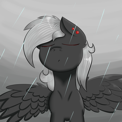Size: 5000x5000 | Tagged: absurd res, artist:luriel maelstrom, male, moody, oc, oc:luriel maelstrom, oc only, piercing, rain, safe, simple background, spread wings, standing, weather, wings
