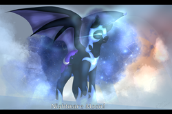 Size: 3000x1980 | Tagged: safe, artist:sora-choi, nightmare moon, princess luna, alicorn, bat pony, pony, bat ponified, bat wings, constellation, cutie mark, ethereal mane, female, jewelry, letterboxing, lunabat, mare, race swap, regalia, scene interpretation, solo, spread wings, starry mane, text, wing claws, wings