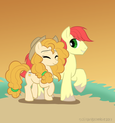 Size: 1024x1101 | Tagged: safe, artist:solitaryzombie, bright mac, pear butter, earth pony, pony, accessory swap, brightbutter, cutie mark, eyes closed, female, male, mare, shipping, smiling, stallion, straight, walking