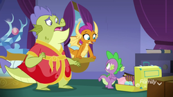 Size: 1920x1080 | Tagged: safe, screencap, sludge (dragon), smolder, spike, dragon, father knows beast, clothes, raised eyebrow, robe, shocked, suitcase, winged spike