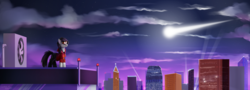 Size: 2000x720 | Tagged: safe, artist:hardbrony, pony, city, cityscape, comet, falling star, glasses, incredibox, ponified, sky, solo