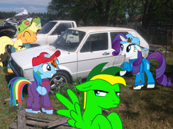 Size: 1024x765 | Tagged: applejack, artist:didgereethebrony, backwards ballcap, baseball cap, cap, car, didgeree collection, golf, grease, hat, irl, mk 1 golf, mlp in australia, oc, oc:didgeree, oil, overalls, photo, ponies in real life, pony, rainbow dash, rarity, safe, sports, the cart before the ponies, unhappy, volkswagen, volkswagen golf