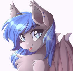 Size: 3419x3333 | Tagged: artist:airiniblock, bat pony, bat pony oc, bat wings, chest fluff, cute, cute little fangs, ear fluff, ear piercing, fangs, fluffy, looking at you, male, oc, oc:moonslurps, oc only, open mouth, piercing, pony, safe, simple background, slit eyes, smiling, solo, stallion, white background, wing claws, wings