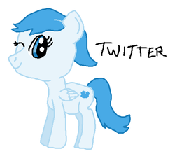 Size: 538x480 | Tagged: artist:nightshadowmlp, meta, one eye closed, pegasus, ponified, pony, safe, simple background, smiling, twitter, white background, wink