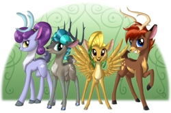 Size: 2143x1420 | Tagged: safe, artist:sirzi, oc, oc only, oc:hazel nut, oc:niceprill, oc:stemlet mind, oc:windy leaves, deer, fordeer, nordeer, original species, peryton, vitrung, deer four, deer oc, doe, female, grin, horns, male, non-pony oc, open mouth, pale belly, smiling, spread wings, teeth, wings