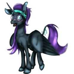 Size: 1013x1019 | Tagged: safe, artist:sintakhra, oc, oc:nyx, alicorn, fanfic:past sins, alicorn oc, blushing, collarbone, female, fluffy, glasses, headband, lanky, leonine tail, nyxabetes, open mouth, ribbon, teenager, unshorn fetlocks