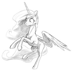 Size: 841x821 | Tagged: safe, artist:nadnerbd, derpibooru exclusive, princess celestia, alicorn, pony, cute, female, flying, mare, missing accessory, missing cutie mark, simple background, solo, surprised, white background