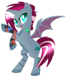 Size: 1353x1580 | Tagged: alicorn, alicorn oc, artist:elementbases, artist:space--paws0w0, base used, bat pony, bat pony alicorn, female, icey-verse, magical lesbian spawn, mare, next generation, oc, oc:cyclone (ice1517), oc only, offspring, open mouth, parent:oc:elizabat stormfeather, parents:canon x oc, parents:stormshadow, parent:tempest shadow, pony, raised hoof, rearing, safe, simple background, solo, tattoo, transparent background