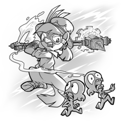 Size: 2000x2000 | Tagged: safe, artist:petirep, oc, oc only, oc:master engineer chet, goblin, pony, buck legacy, angry, bipedal, card art, electricity, fleeing, goggles, grayscale, hammer, hat, imminent pain, monochrome, ponytail, running, screaming, simple background, snarling, steam, steampunk, top hat, weapon, white background