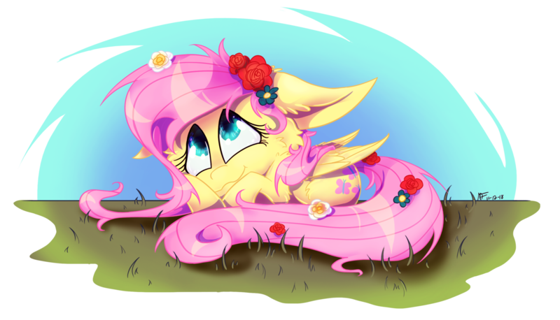 Size: 1600x915 | Tagged: safe, artist:maliforger894, fluttershy, pegasus, pony, cheek fluff, cute, featured image, female, floppy ears, flower, flower in hair, flower in tail, folded wings, grass, looking up, mare, outdoors, prone, shyabetes, simple background, smiling, solo, transparent background, wings