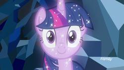 Size: 1920x1080 | Tagged: safe, screencap, tree of harmony, alicorn, pony, what lies beneath, adoracreepy, creepy, cute, female, implied twilight sparkle, mare, smiling, solo, sparkles, stare, treelight sparkle, treelightbetes, unsettling adorableness