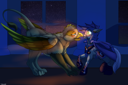 Size: 1024x686 | Tagged: safe, artist:backlash91, avian, bat pony, griffon, horse, pony, armor, bat wings, blushing, boop, equine, eye contact, female, floppy ears, fluffy, frown, glowing eyes, gritted teeth, leg fluff, looking at each other, male, night, night guard, night sky, noseboop, open mouth, raised hoof, raised leg, royal guard, scared, sky, smiling, spread wings, stallion, window, wings
