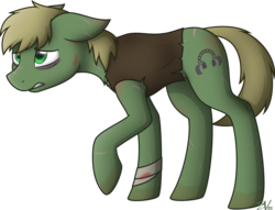 Size: 4000x3062 | Tagged: safe, artist:starlessnight22, oc, oc only, oc:murky, fallout equestria, fallout equestria: murky number seven, bandage, chest fluff, clothes, fanfic art, floppy ears, gritted teeth, male, raised hoof, scar, scarred, shirt, signature, simple background, solo, stallion, transparent background