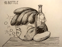 Size: 1200x900 | Tagged: safe, artist:sa1ntmax, berry punch, berryshine, pony, alcohol, bottle, drunk, inktober, inktober 2018, monochrome, solo, traditional art