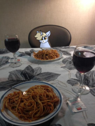 Size: 540x720 | Tagged: artist:nootaz, food, irl, oc, oc:nootaz, pasta, photo, ponies in real life, pony, safe, spaghetti